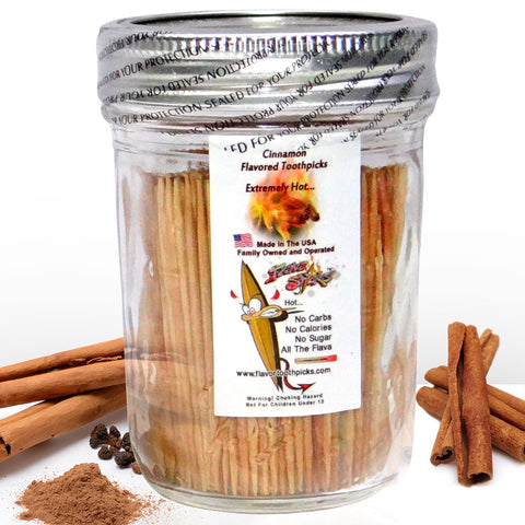 400 Cinnamon Flavored Toothpicks With Reusable Decorative Glass Jar