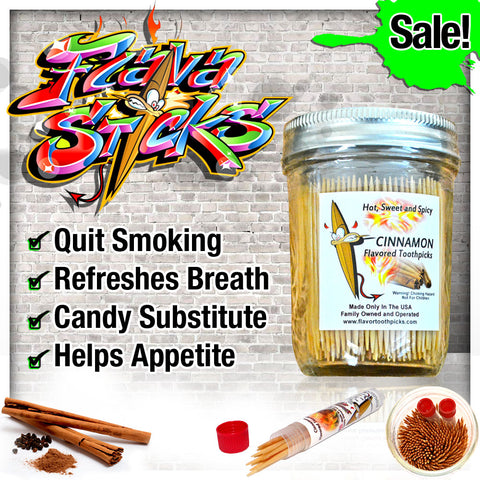 400 Cinnamon Flavored Toothpicks With Reusable Decorative Glass Jar Includes 2 Tubes