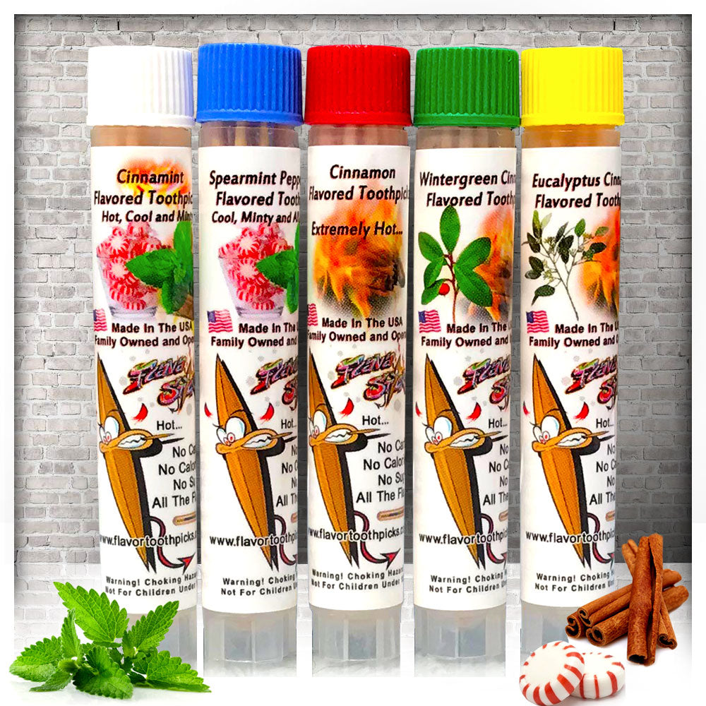 5 Packs of Flavored Essential Oil Toothpicks