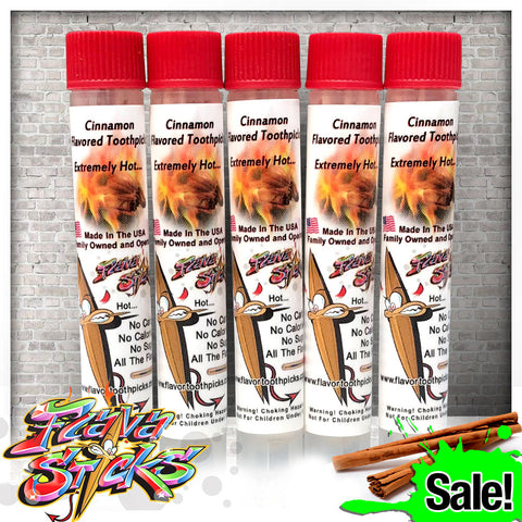 5 Pack of Cinnamon Toothpicks In Small Reusable Plastic Tubes