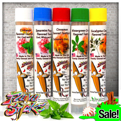 5 Flavored Toothpick Ultimate Sampler Pack Small Tubes Single Order