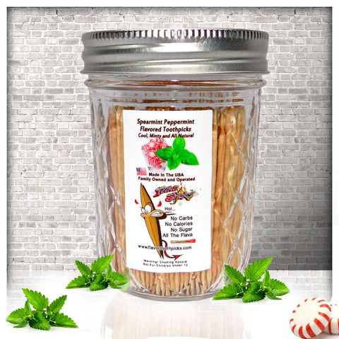 600 Spearmint Peppermint Flavored Toothpicks With Reusable Decorative Glass Jar
