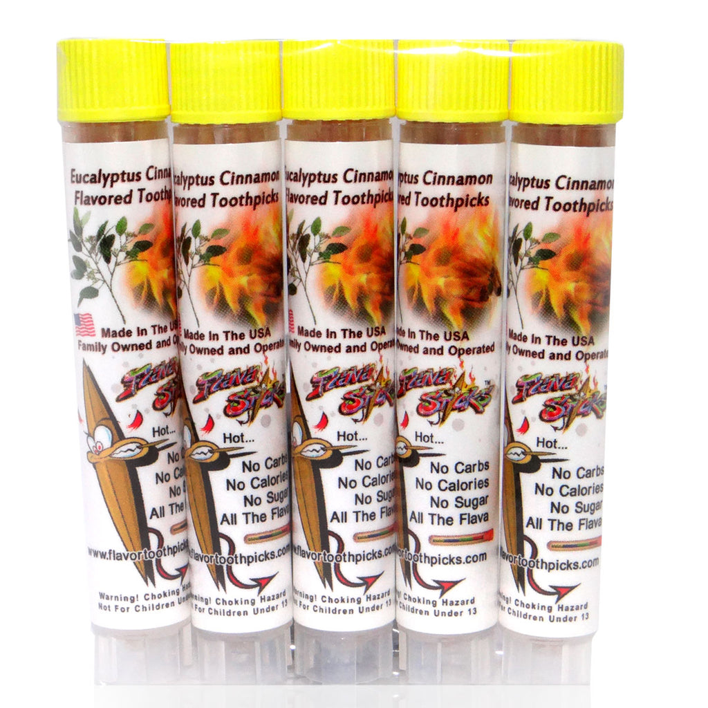 5 Pack of Eucalyptus Cinnamon Toothpicks In Small Reusable Plastic Tubes