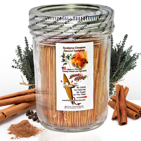 600 Eucalyptus Cinnamon Flavored Toothpicks With Reusable Decorative Glass Jar