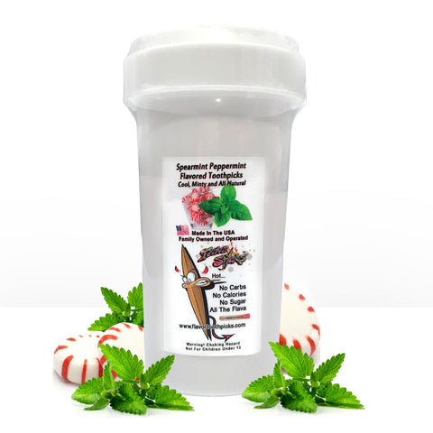 350 Count Spearmint Peppermint Flavored Toothpicks With Reusable Plastic Child Safety Screw Tops