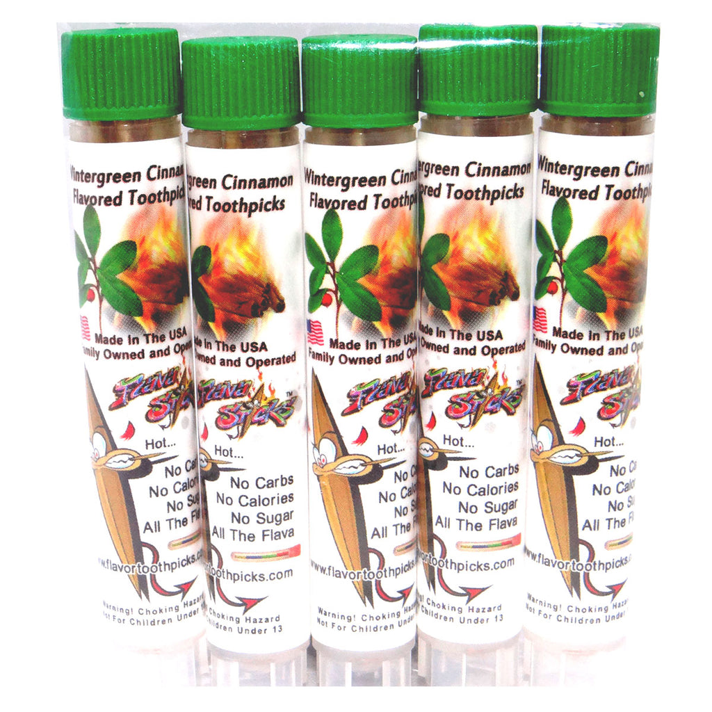 5 Pack of Wintergreen Cinnamon Toothpicks In Small Reusable Plastic Tubes