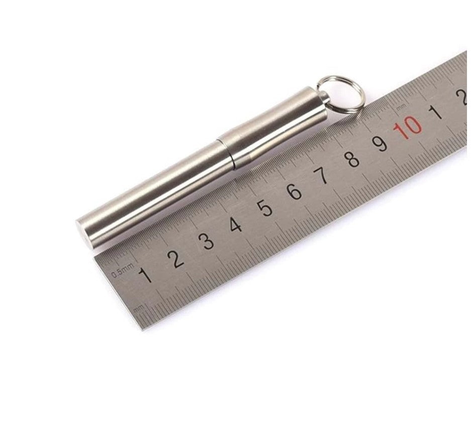 Portable Toothpick Holder Key-Chain Waterproof Screw Cap Available In Stainless Steel