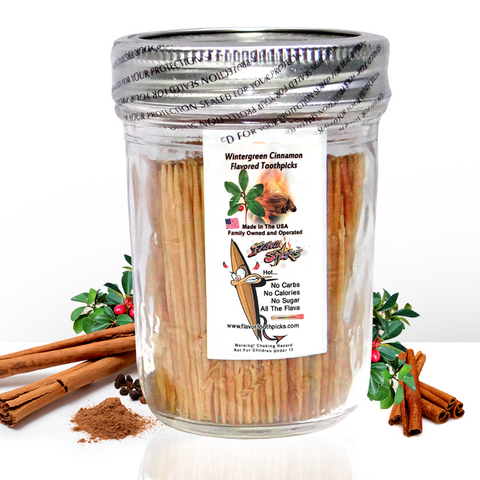 600 Wintergreen Cinnamon Flavored Toothpicks With Reusable Decorative Glass Jar
