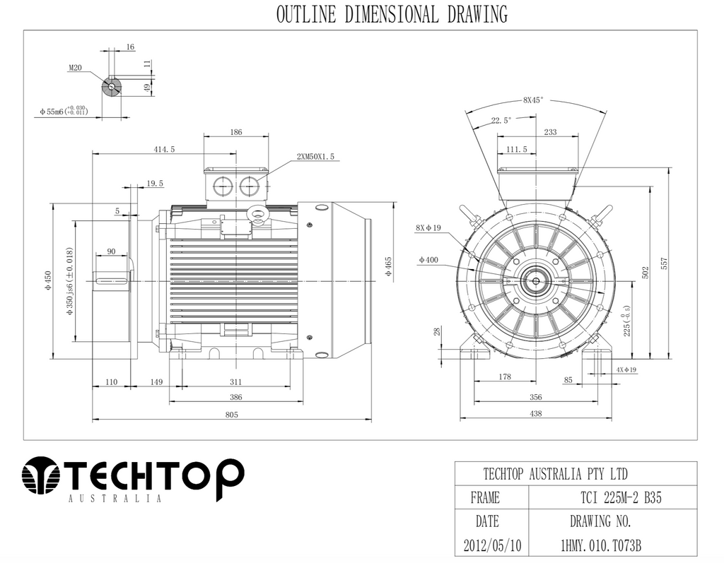 Three Phase Electric Motor 45kW 2P (2955rpm) 415v B35 Foot/Flange Mounted TCI225M-2 IP55 Cast Iron - Motor Gearbox Products