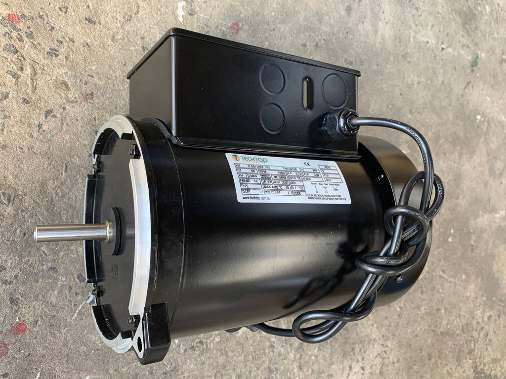"Grain Feeder Motor 0.56kw, 1420rpm, 240v Single Phase CSCR, 1/2"" Shaft, 56NY Frame, TEFC, IP55, 1 Metre Lead with Plug Fitted - Motor Gearbox Products"