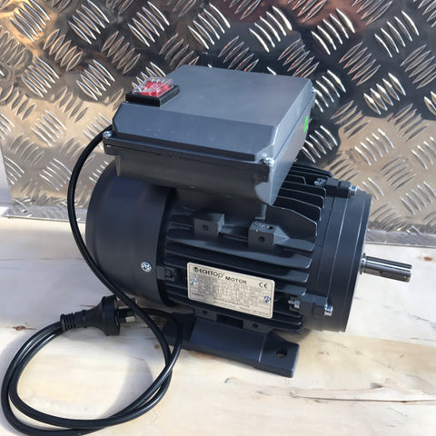 "Techtop Cement Mixer Motor, 0.75kw, 4pole (1420rpm), 240volt, CSCR, 5/8"" Shaft, Foot Mounted, On/Off Switch and 1-Metre Lead - Motor Gearbox Products"