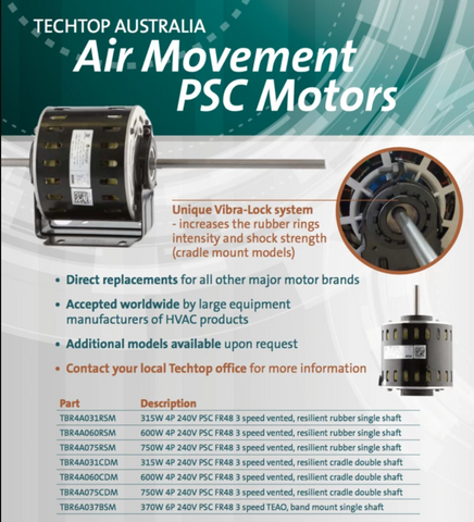 Air Movement Motor 750W 4P 240V PSC FR48 3 speed vented, resilient rubber single shaft - Motor Gearbox Products