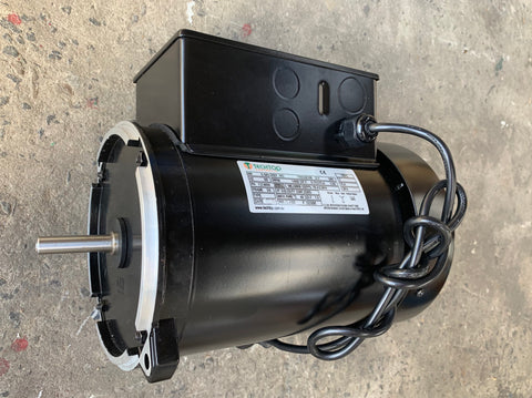 "Grain Feeder Motor 0.75kw, 1420rpm, 240v Single Phase CSCR, 1/2"" Shaft, 56NY Frame, TEFC, IP55, 1 Metre Lead with Plug Fitted - Motor Gearbox Products"