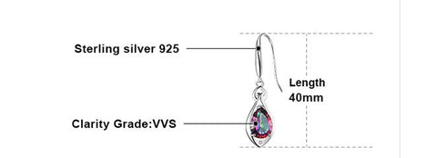 Women's 6.8ct Rainbow Fire Topaz Dangling Earrings in Pure 925 Sterling Silver