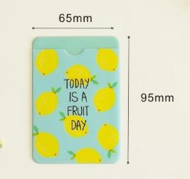 W52 1X Cute Kawaii Fresh Fruit Double-Layer Card Note Holder Bus Business Credit Cover Case Wallet