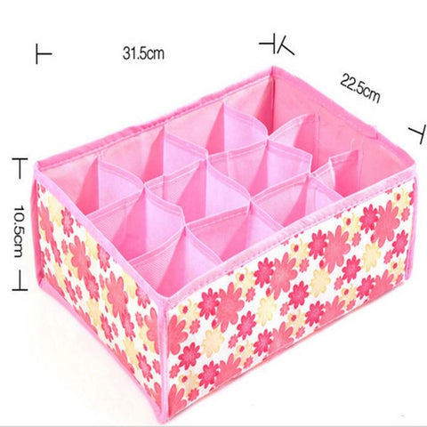 12 Grid Storage Box Folding Case with Non-Woven Fabric for Clothes Storage