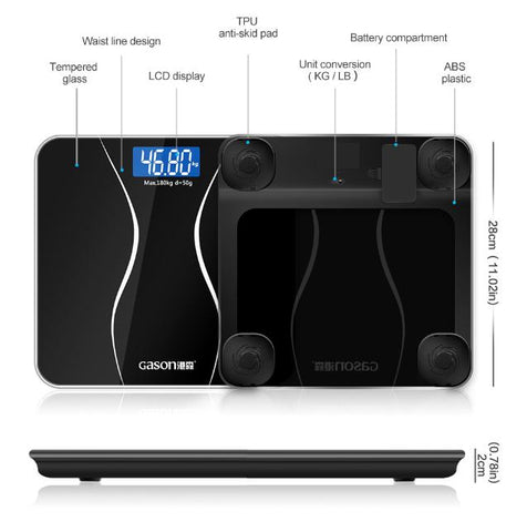 GASON A2 Bathroom Body Scales Glass Smart Household Electronic Digital Floor Weight Balance Bariatric LCD Display 180KG/50G