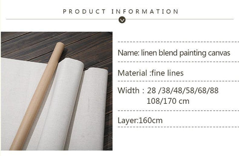 BGLN Linen Blend Primed Blank Canvas For Painting High Quality Layer Oil 1m One Roll ,28/38/48/58 Width