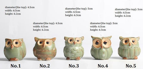 Owl-shaped Flower Pot Ceramic Small Home/Garden/Office Decoration for Succulents Fleshy Plants Cartoon Style 5pcs/set