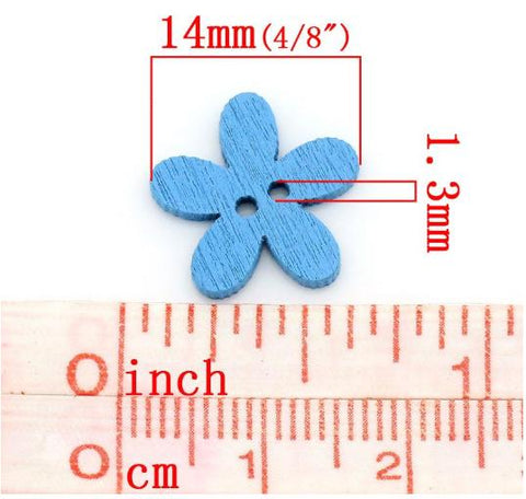 Sewing Buttons Flower Design Wood Two Holes Scrapbooking 14*15mm 20pcs/set