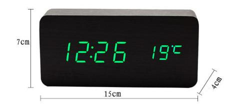 FiBiSonic Alarm Clocks with Thermometer ,Wood Wooden Led Clocks, Digital Table Clock,Electronic With Cost