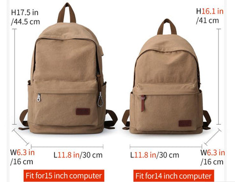 Men's Canvas Backpack Vintage Casual Travel for College School Students Teenagers