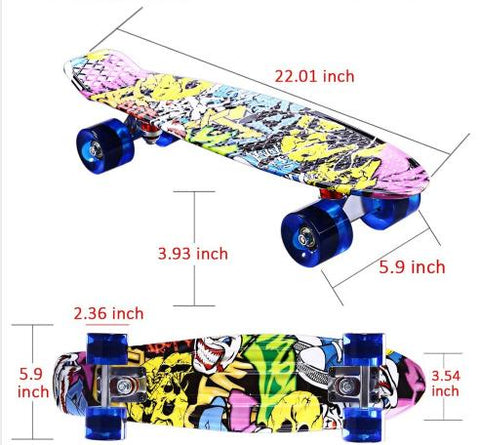 Children's Skateboard Deck Complete 22inch Retro Cruiser Longboard Printing Street Graffity Style CL-85