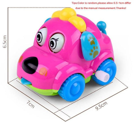 Cute Cartoon Animal Dog Wind Up Toys Running Car Clockwork Classic Toy Newborn Spring Random Color