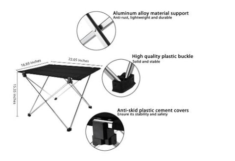 Folding Table Desk Portable Aluminium Alloy Nylon Waterproof Ultra-light Durable for Camping Picnic