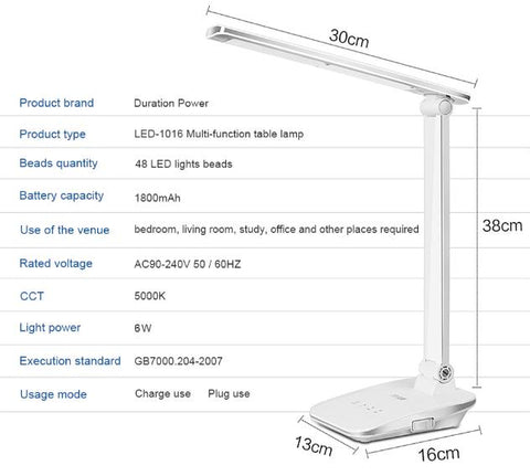 Duration Power White Foldable Desk Lamps 48 LED Rechargeable Table Office Reading Touch Dimmer Light