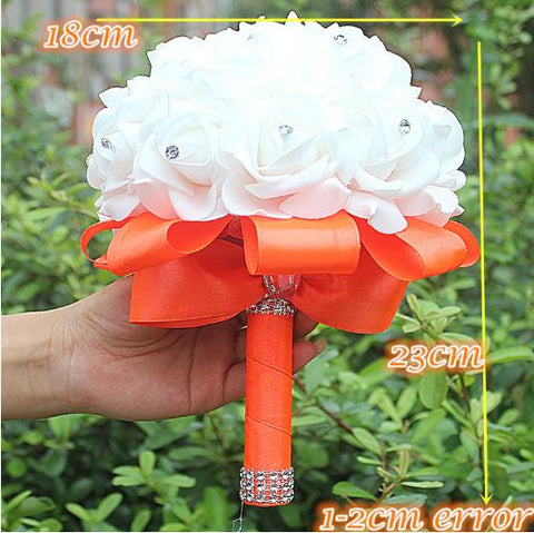 IN STOCK Cheapest PE Rose Bridesmaid Wedding Foam Flowers Bridal Bouquet Ribbon Fake De Noiva 14 Color