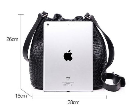 Bags women bucket genuine leather sheepskin drawstring brand designer hand weave knitting shoulder crossbody