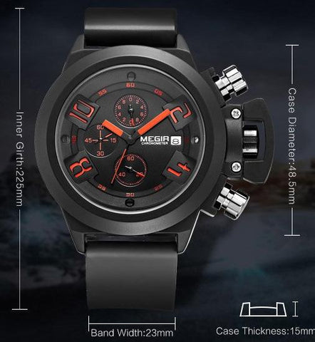 MEGIR Top Brand Luxury Watches Men Quartz Watch Silicone Band Chronograph Wristwatch Reloj HombreRelogio Masculino
