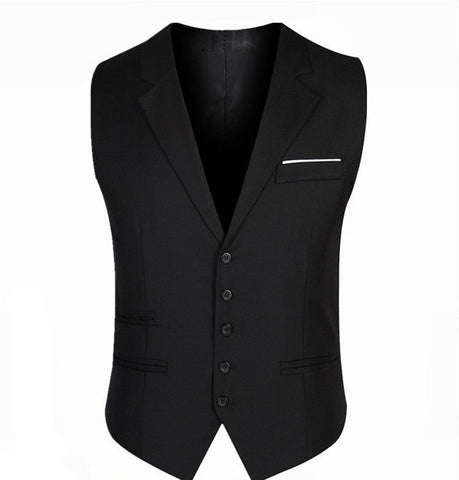 2016 Men Slim Suit Vests Male Single Breasted Notched Collar Business Casual Vest Party Wedding Waistcoat