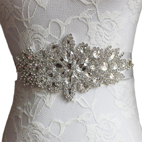 Women's Dress Belt Crystal Satin Ribbon for Evening Bridal Wedding Prom