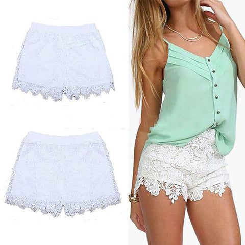 Women's Hollow Shorts Elastic Waist Solid Summer Casual Lace