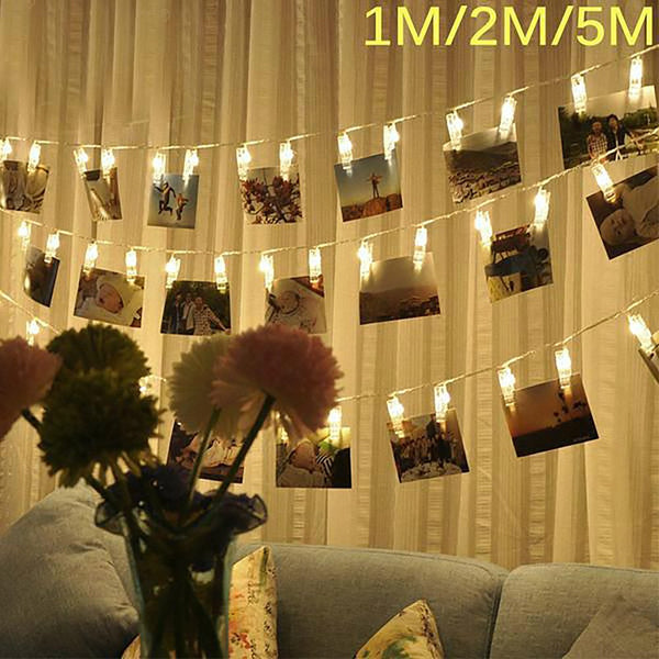 AGM Garland LED String Lights Novelty Fairy Lamp Starry Battery Card Photo Clip Luminaria Festival Christmas Wedding Decoration