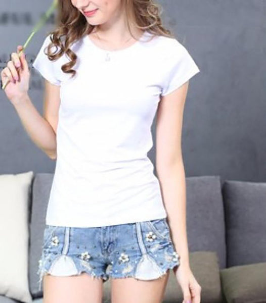 Women's T-shirt Regular O-neck Short Sleeve Cotton Elastic Plain Casual Basic