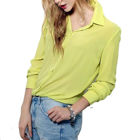 Women's Shirt Chiffon Short Loose Long Sleeves Cotton Polyester Button Decorated