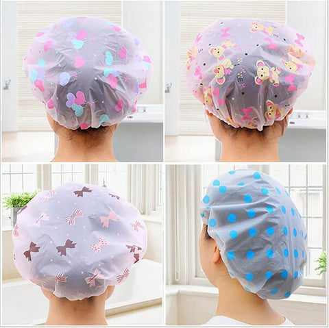 Waterproof Shower Cap with Elastic Band Bathroom Hat