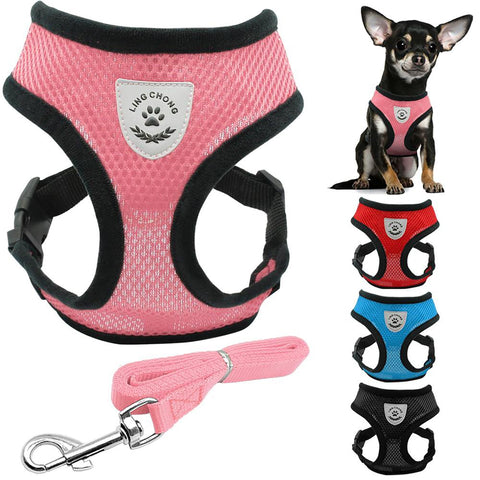 Pet's Harness Leash Set Soft Breathable Air Nylon Mesh