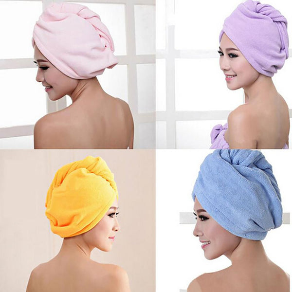 Fashion Hair Towel Drying Wrap Hat Cap Turban Turbie Twist Loop Magical Dryer