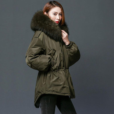 Parka women winter jacket duck down coat with large natural raccoon fur collar hooded long