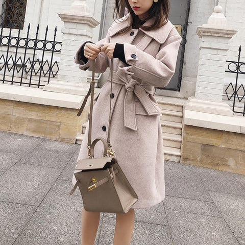 Coat women autumn winter woolen causal turndown collar single-breasted with belt thick