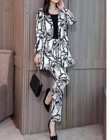 New OLwomen's Korean Version of The Suit Autumn Winter Temperament Slim Long Jacket Trousers Two Pieces / Sets Tide Fashion