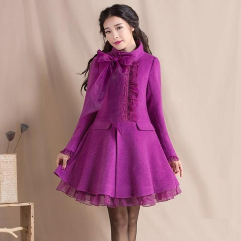 Coats ladies autumn and winter temperament loose wool jackets plus size stand collar slim woolen