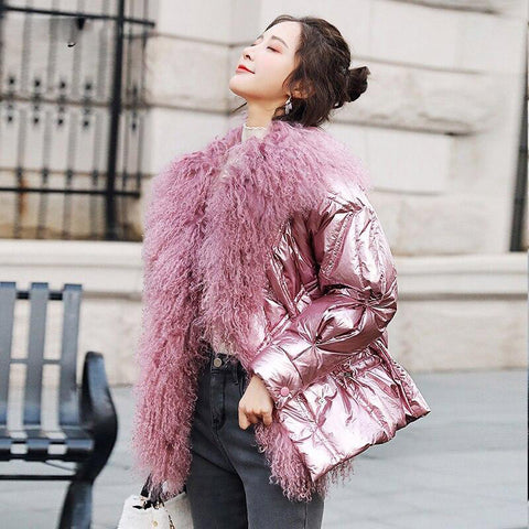 Jacket women's winter duck down glossy big real fur collar warm parkas short coats