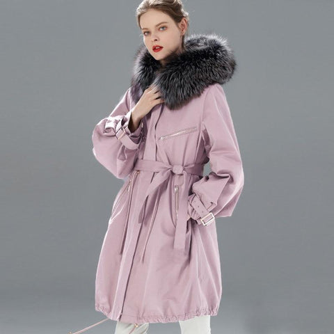Jacket women waterproof winter long parka natural raccoon fox fur collar hooded warm snow coats