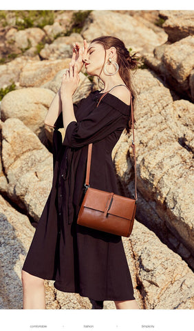 Women's New European And American Fashion First Layer Leather Small Square Bag Vintage Covered Lychee Shoulder
