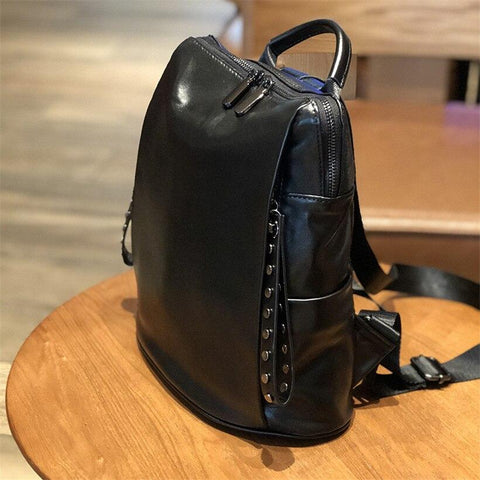 Women Soft Leather Backpack Female Black Shoulders Bag Teenager Youth Rivets Retro Backpack School Fashion Women's Bags